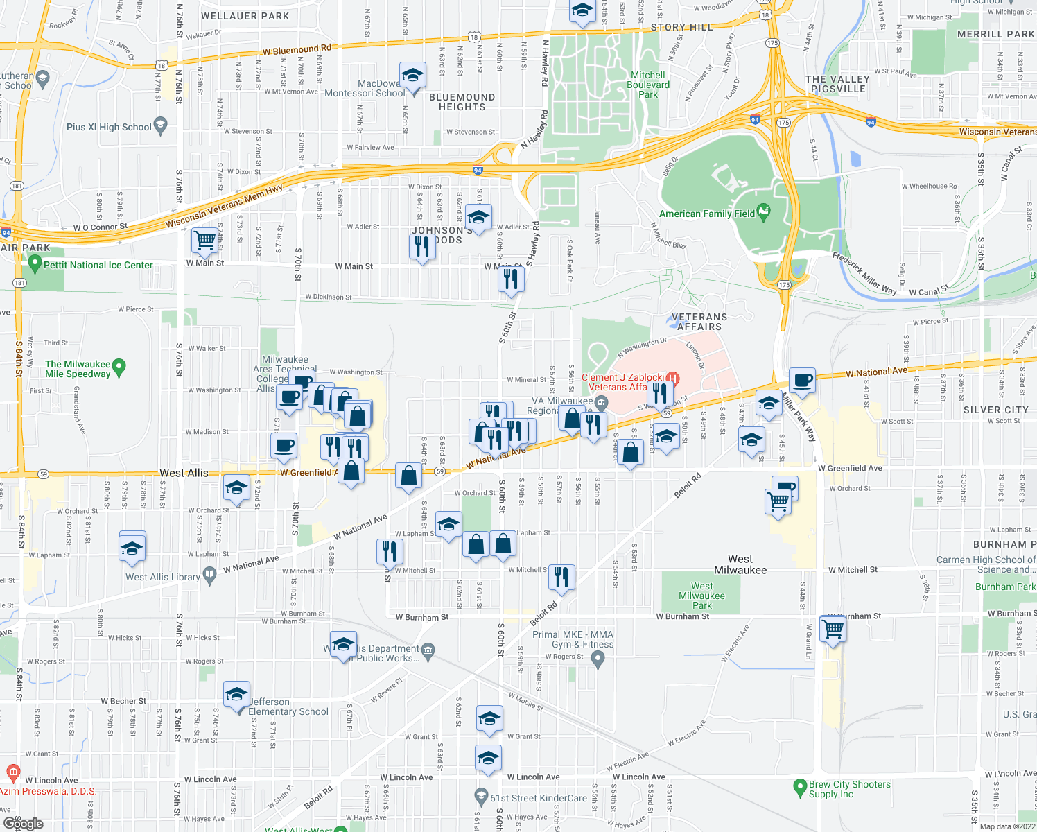 map of restaurants, bars, coffee shops, grocery stores, and more near 5828 West Scott Street in West Allis