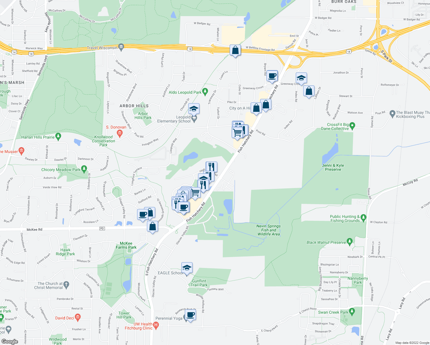 map of restaurants, bars, coffee shops, grocery stores, and more near 2302 High Ridge Trail in Fitchburg