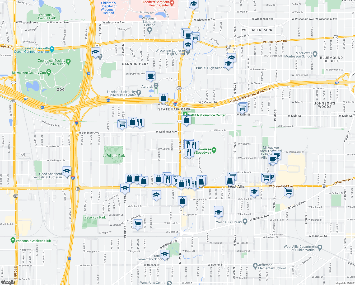 map of restaurants, bars, coffee shops, grocery stores, and more near 827 South 84th Street in West Allis