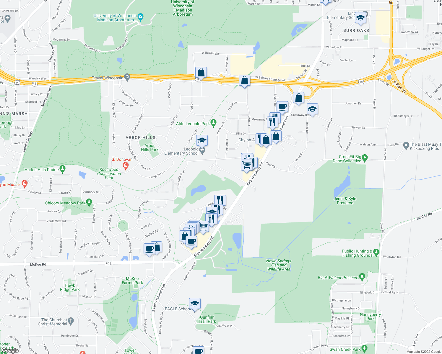 map of restaurants, bars, coffee shops, grocery stores, and more near 2301 Traceway Drive in Madison