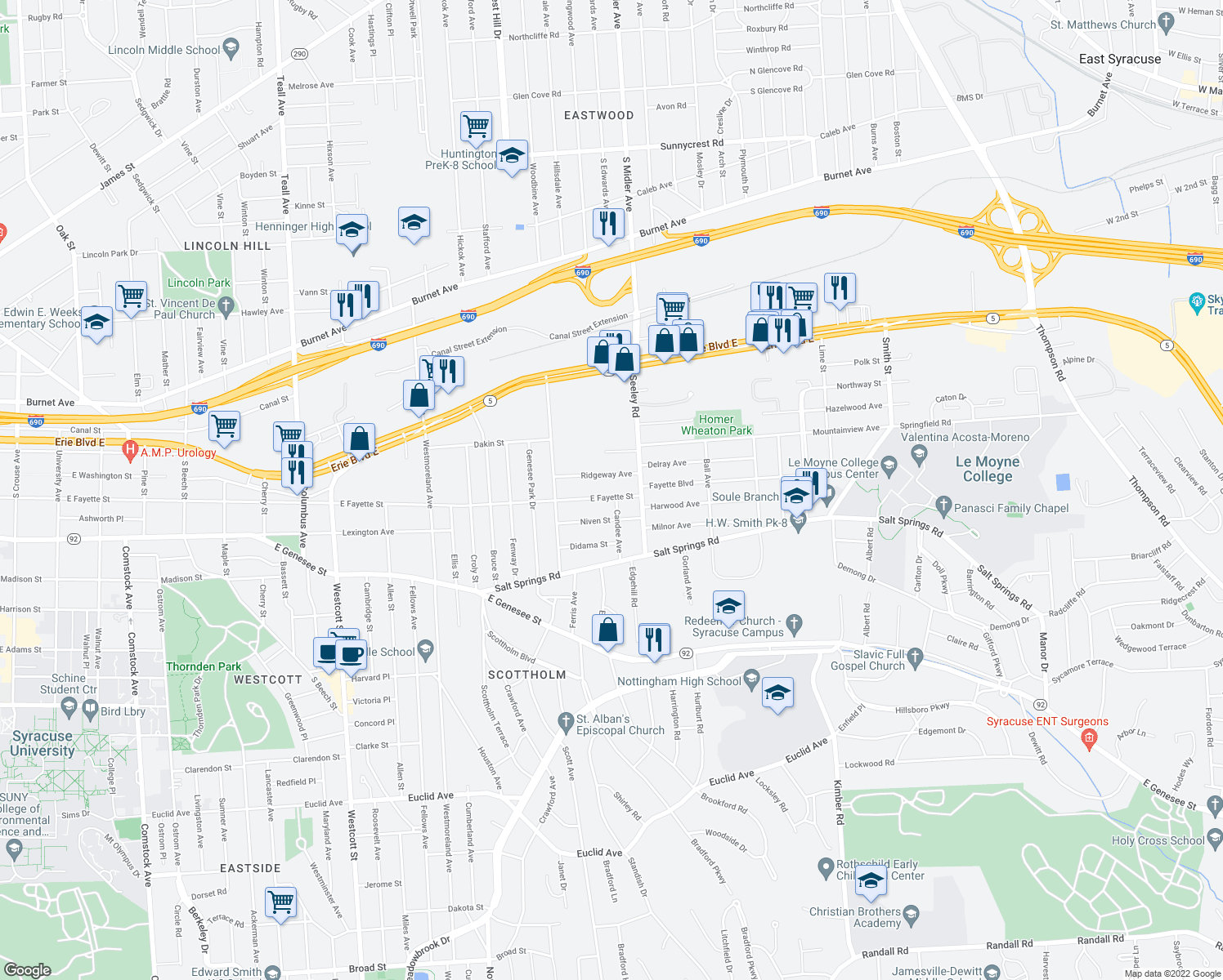 map of restaurants, bars, coffee shops, grocery stores, and more near 2675 East Fayette Street in Syracuse