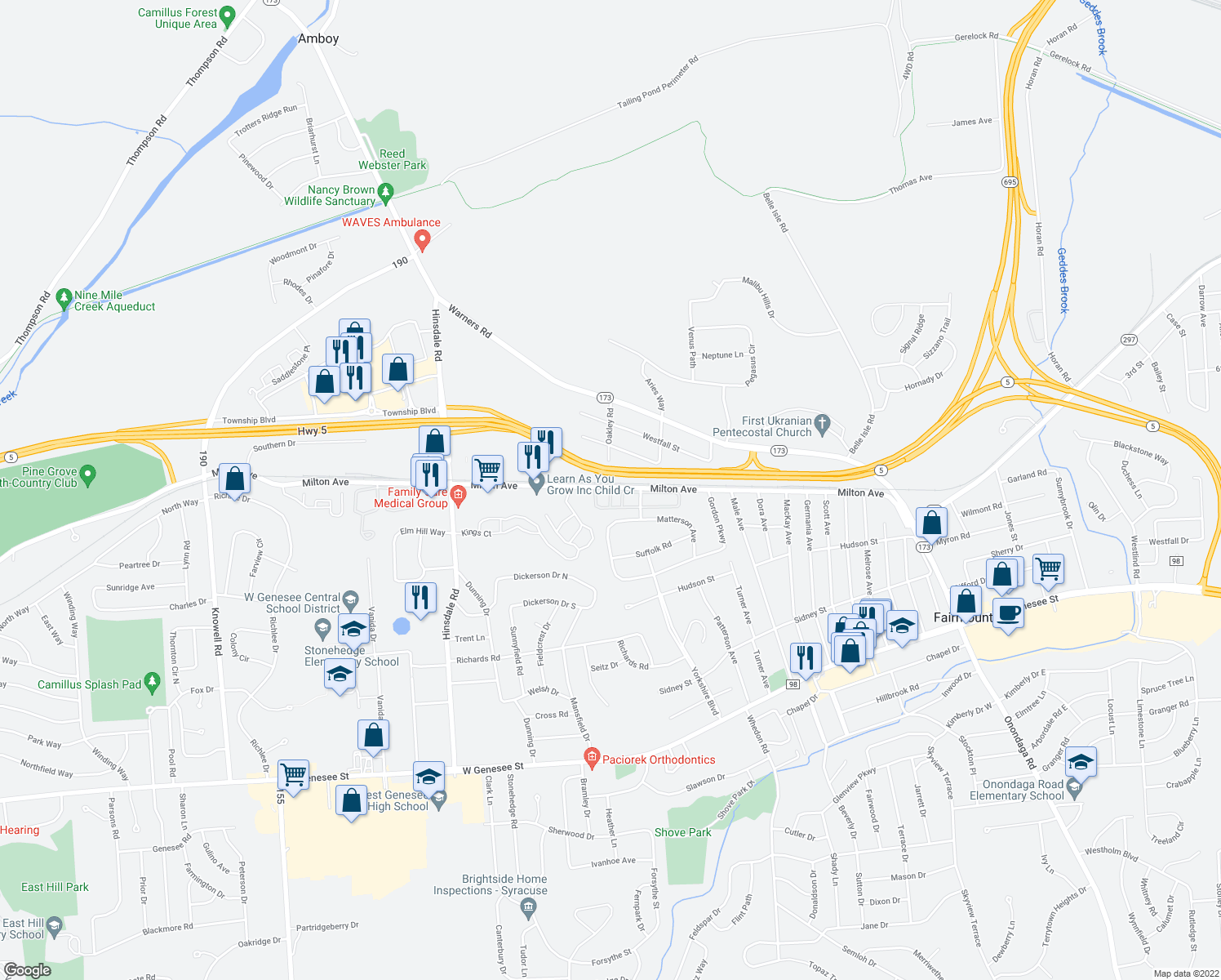 map of restaurants, bars, coffee shops, grocery stores, and more near 5001-5029 Oak Crest Courtyard in Syracuse