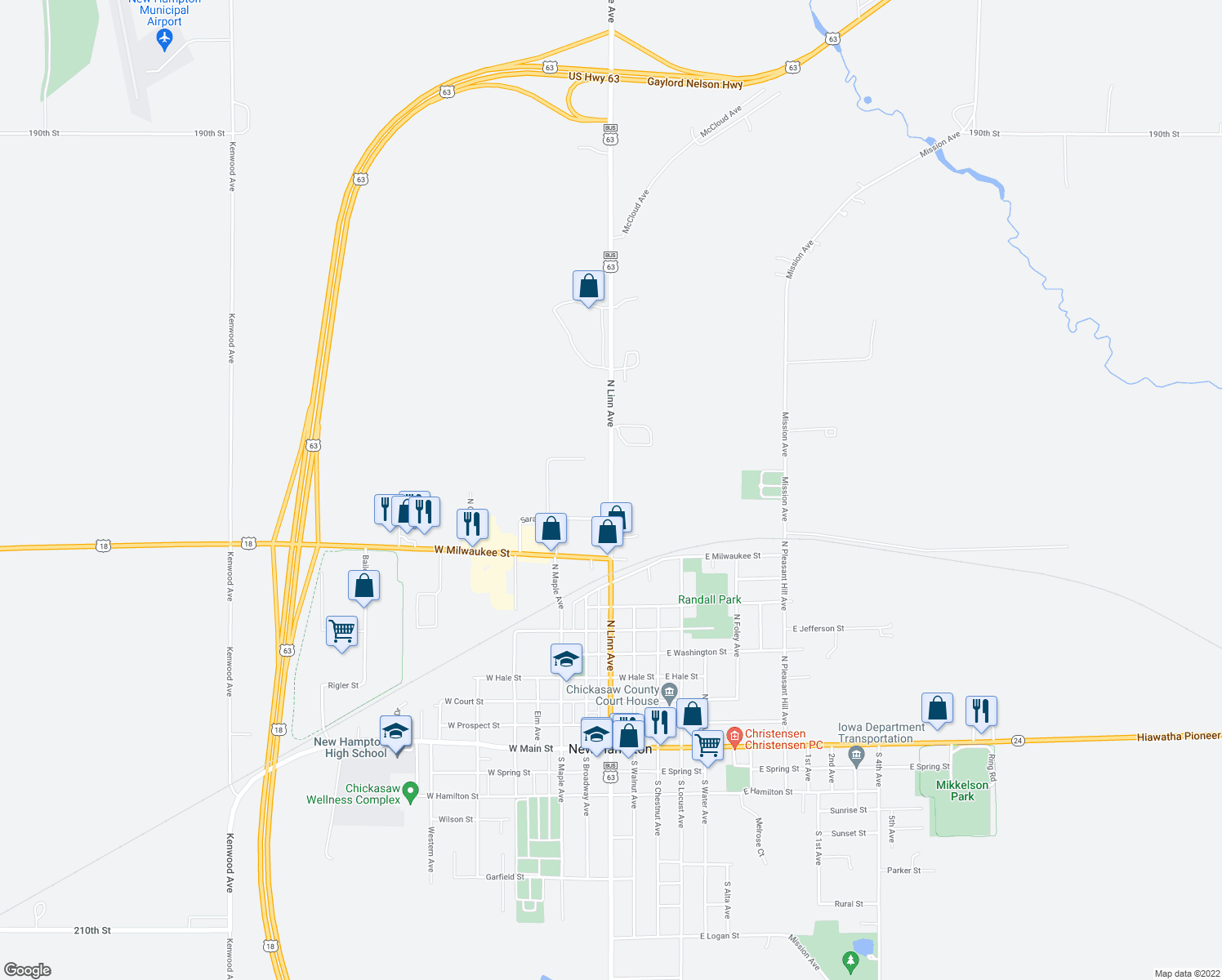 map of restaurants, bars, coffee shops, grocery stores, and more near 901-999 North Linn Avenue in New Hampton