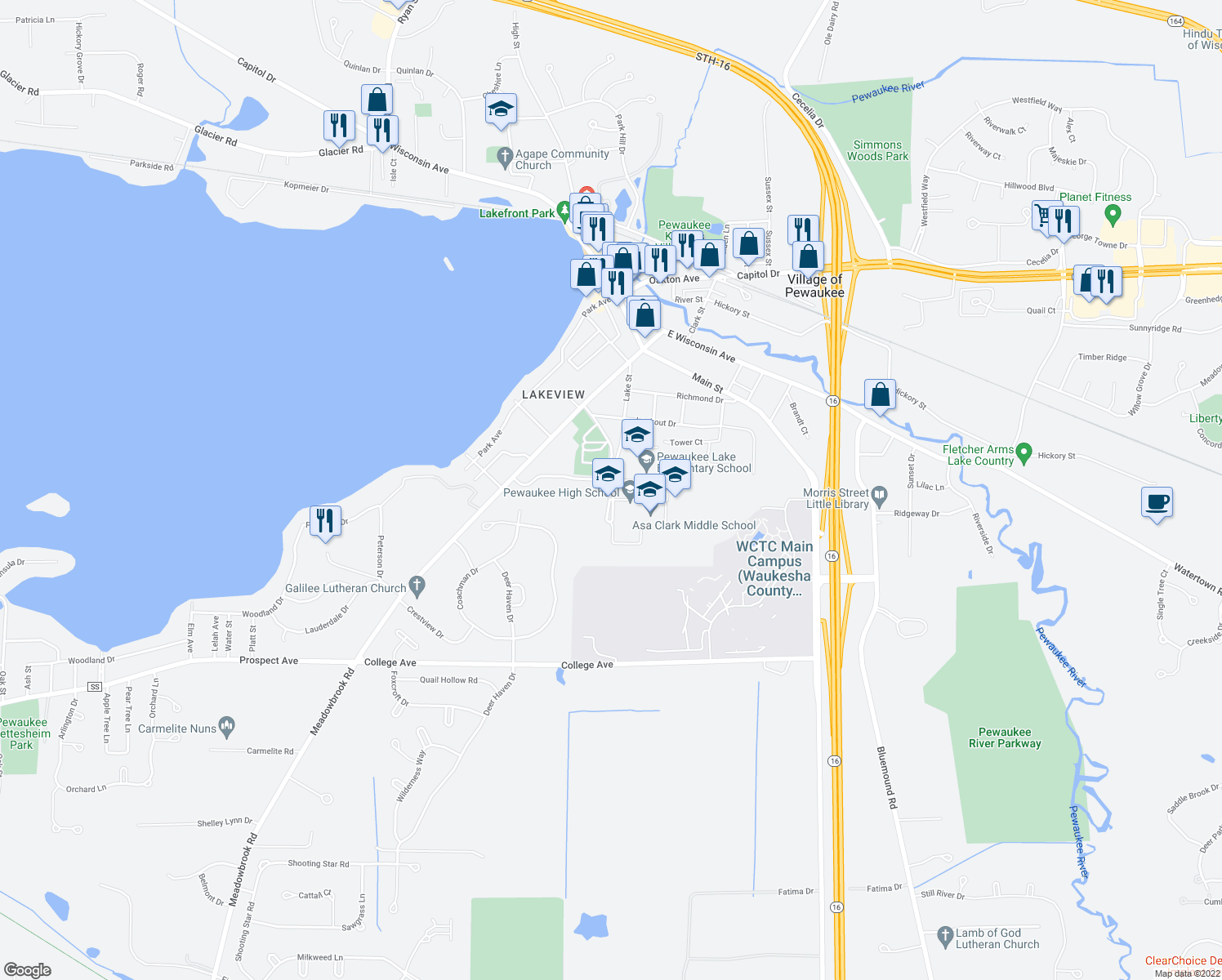 map of restaurants, bars, coffee shops, grocery stores, and more near 404 Lake Street in Pewaukee
