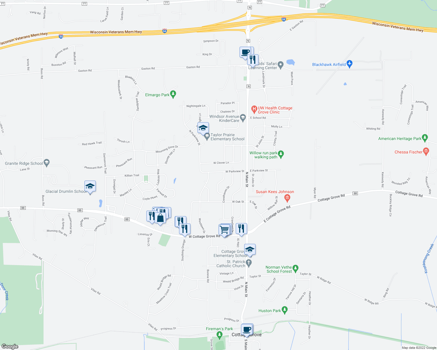 map of restaurants, bars, coffee shops, grocery stores, and more near 224 West Parkview Street in Cottage Grove