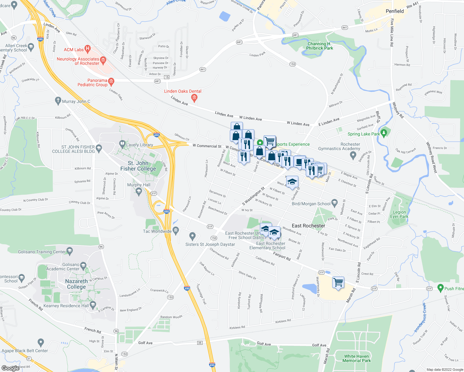 map of restaurants, bars, coffee shops, grocery stores, and more near 706 McKinley Street in East Rochester