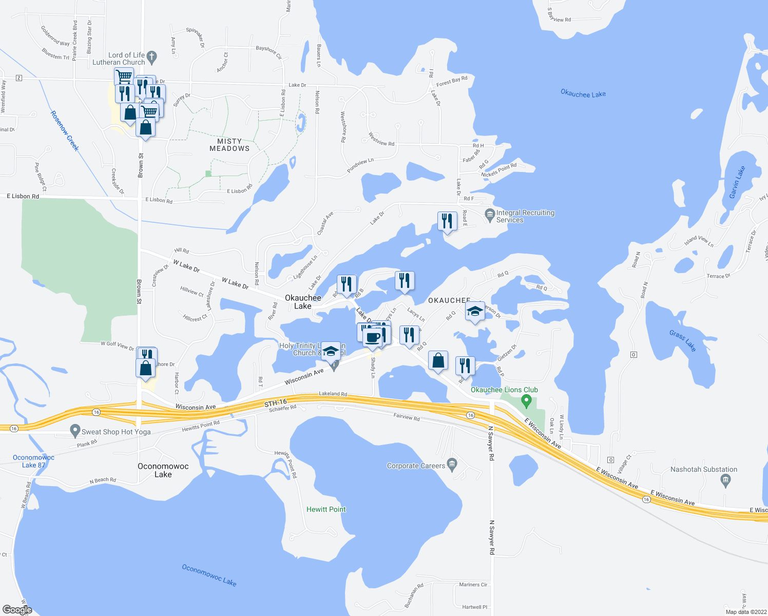 map of restaurants, bars, coffee shops, grocery stores, and more near Point Comfort Drive in Okauchee Lake