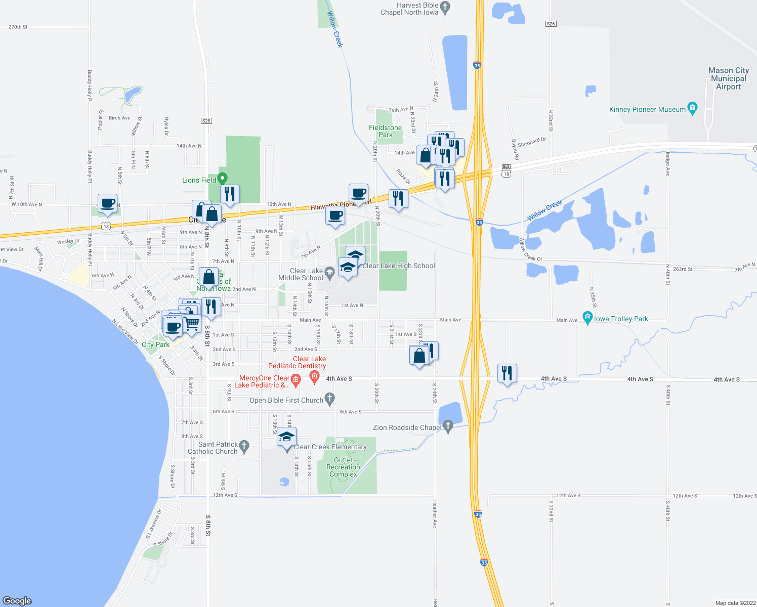map of restaurants, bars, coffee shops, grocery stores, and more near 101-199 North 20th Street in Clear Lake