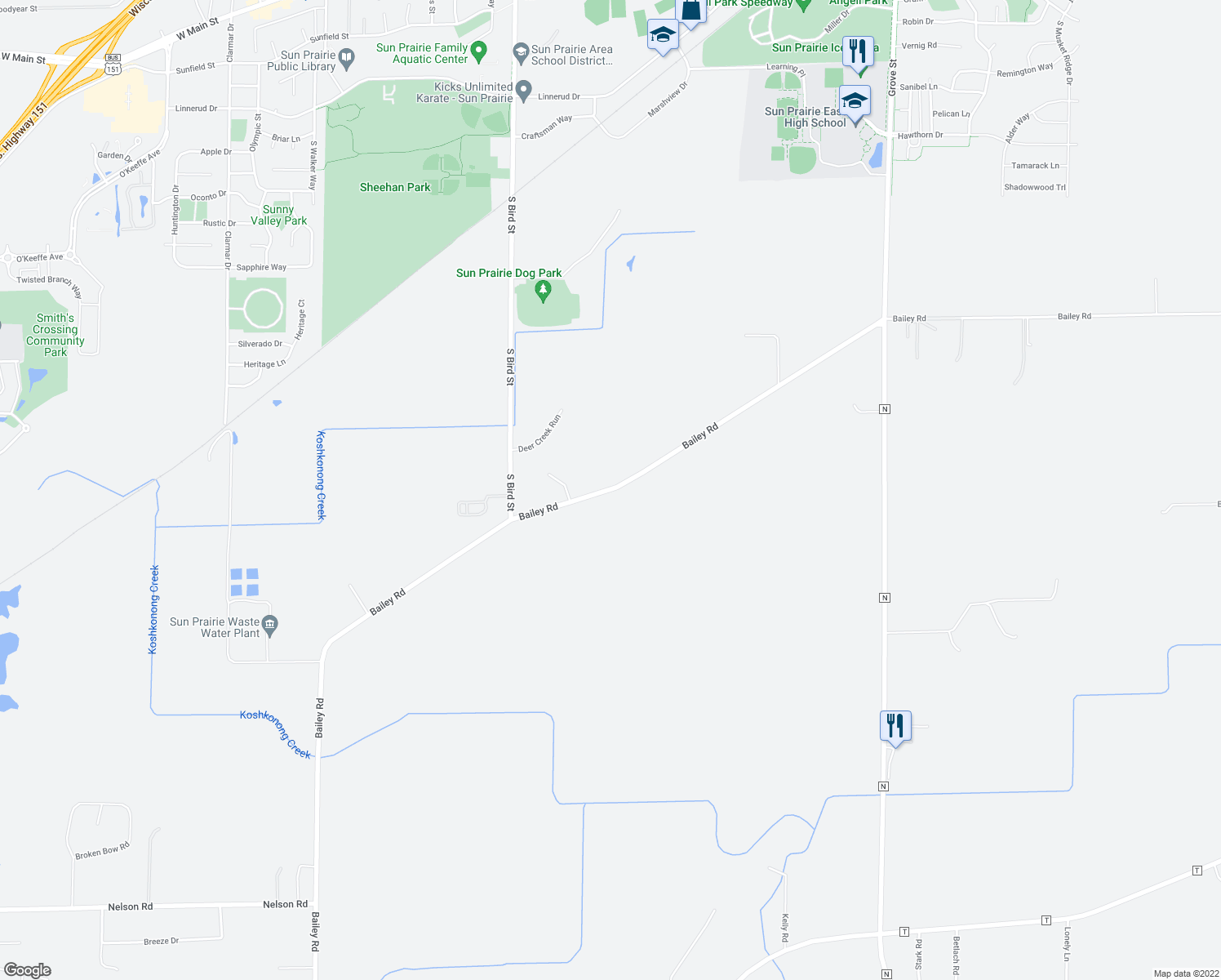 map of restaurants, bars, coffee shops, grocery stores, and more near Bailey Road in Sun Prairie