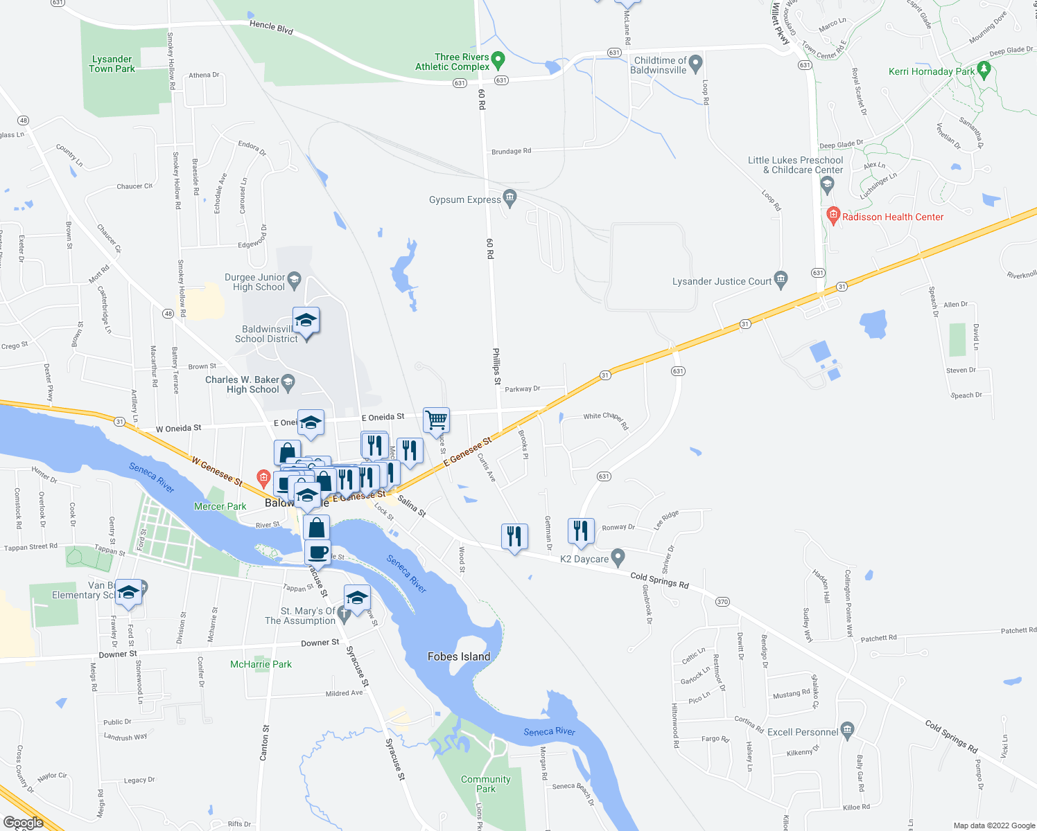 map of restaurants, bars, coffee shops, grocery stores, and more near 98 East Oneida Street in Baldwinsville