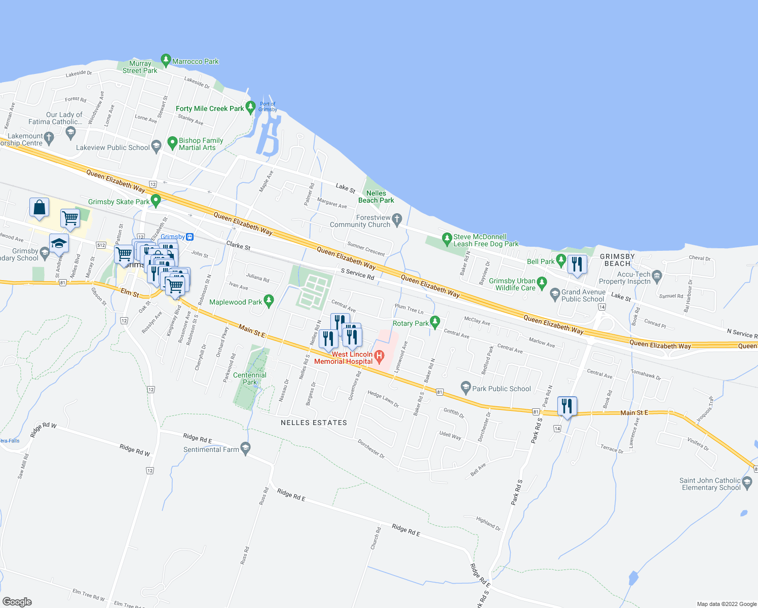 map of restaurants, bars, coffee shops, grocery stores, and more near 13 Sandra Crescent in Grimsby
