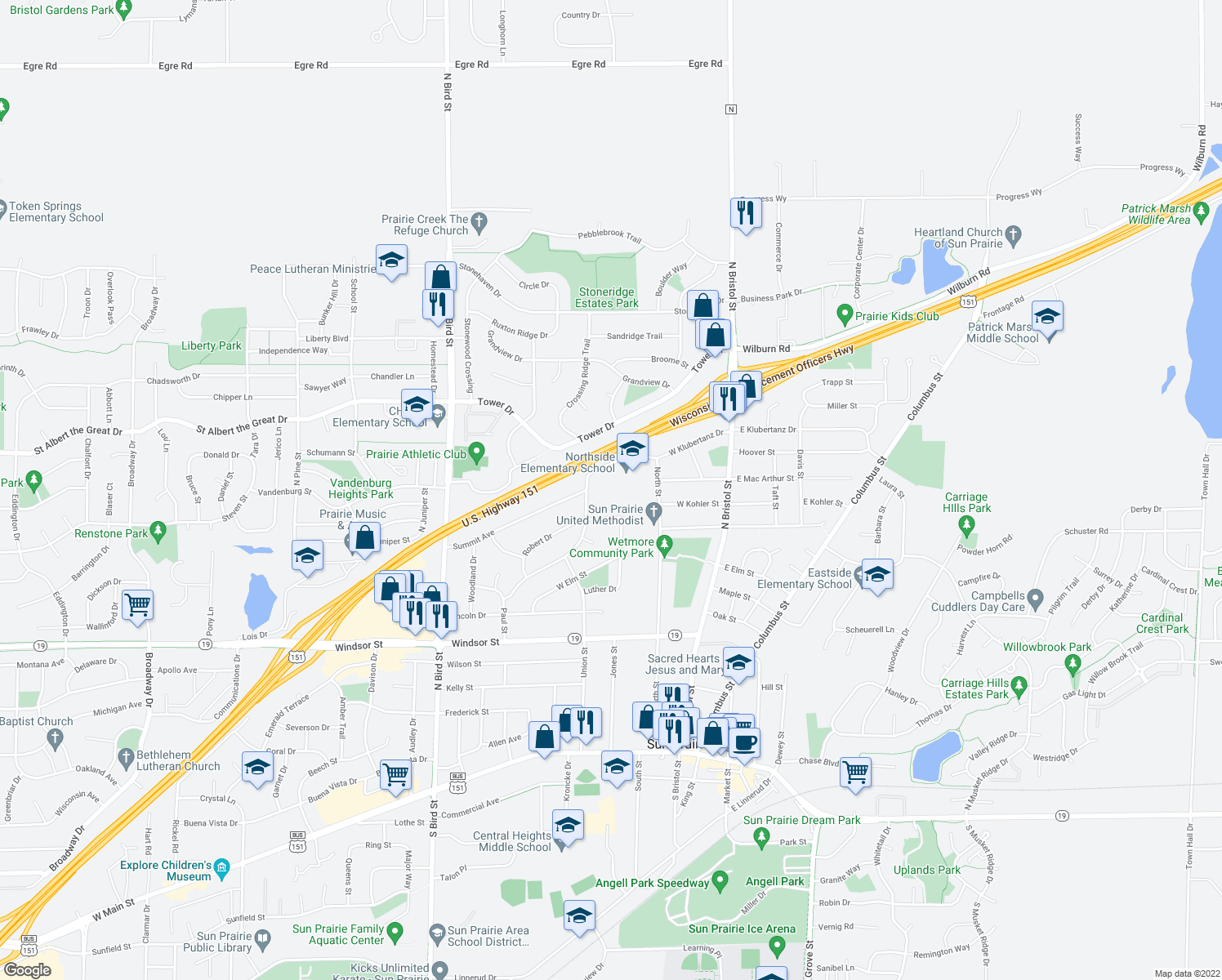 map of restaurants, bars, coffee shops, grocery stores, and more near 230 West Klubertanz Drive in Sun Prairie