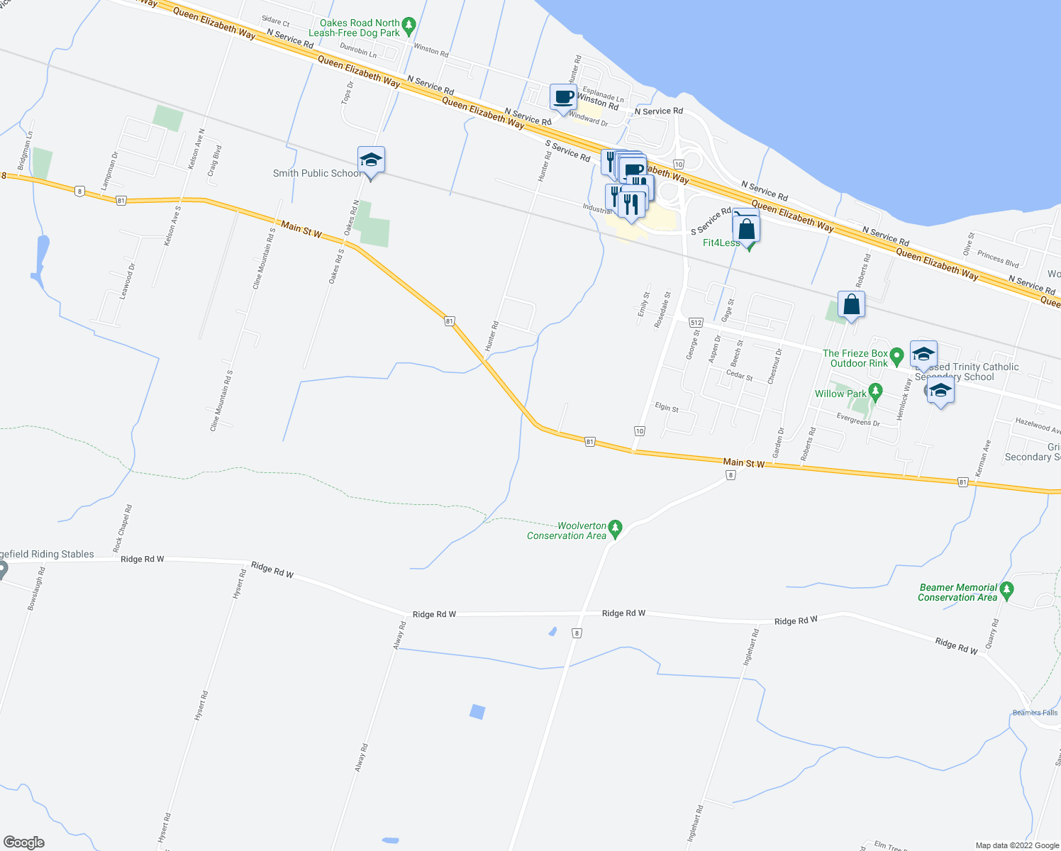 map of restaurants, bars, coffee shops, grocery stores, and more near 407 Main Street West in Grimsby