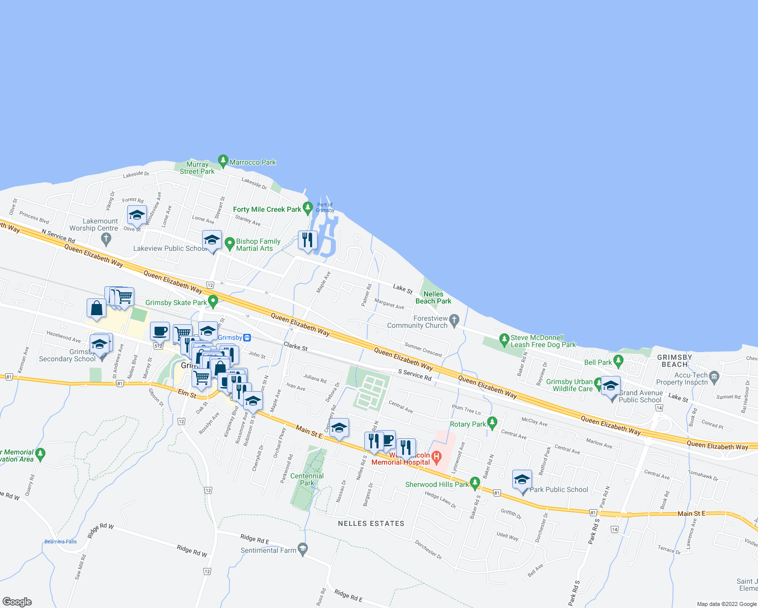 map of restaurants, bars, coffee shops, grocery stores, and more near 25 Margaret Avenue in Grimsby