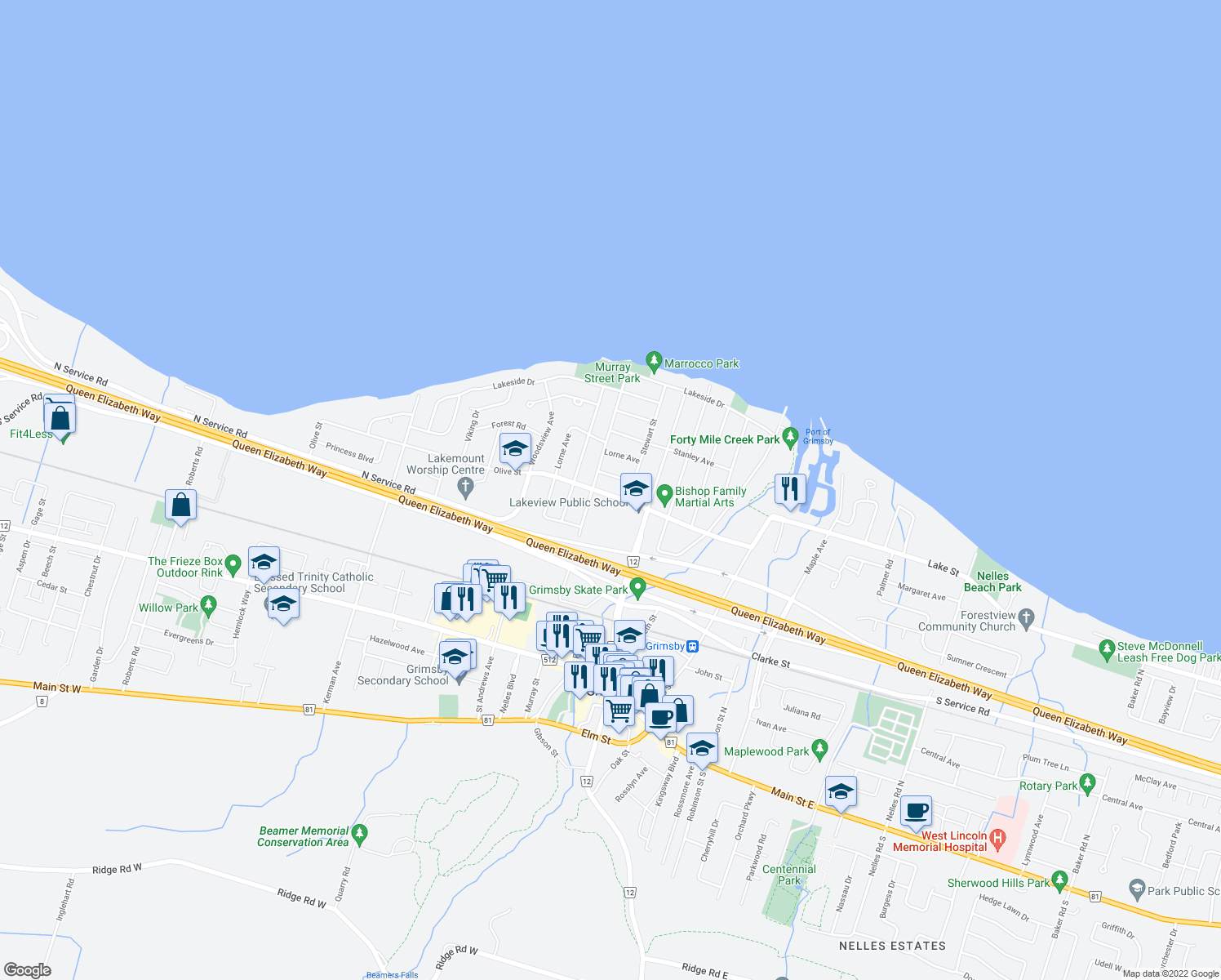 map of restaurants, bars, coffee shops, grocery stores, and more near 34 Olive Street in Grimsby