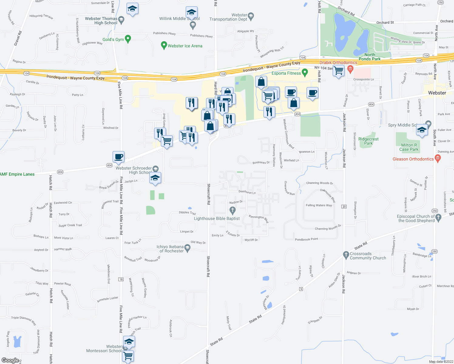 map of restaurants, bars, coffee shops, grocery stores, and more near 281-325 Linden Tree Lane in Webster