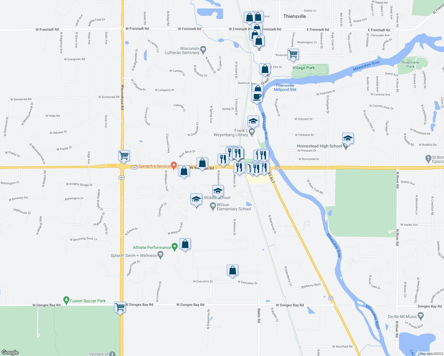 map of restaurants, bars, coffee shops, grocery stores, and more near 11130 North Buntrock Avenue in Mequon