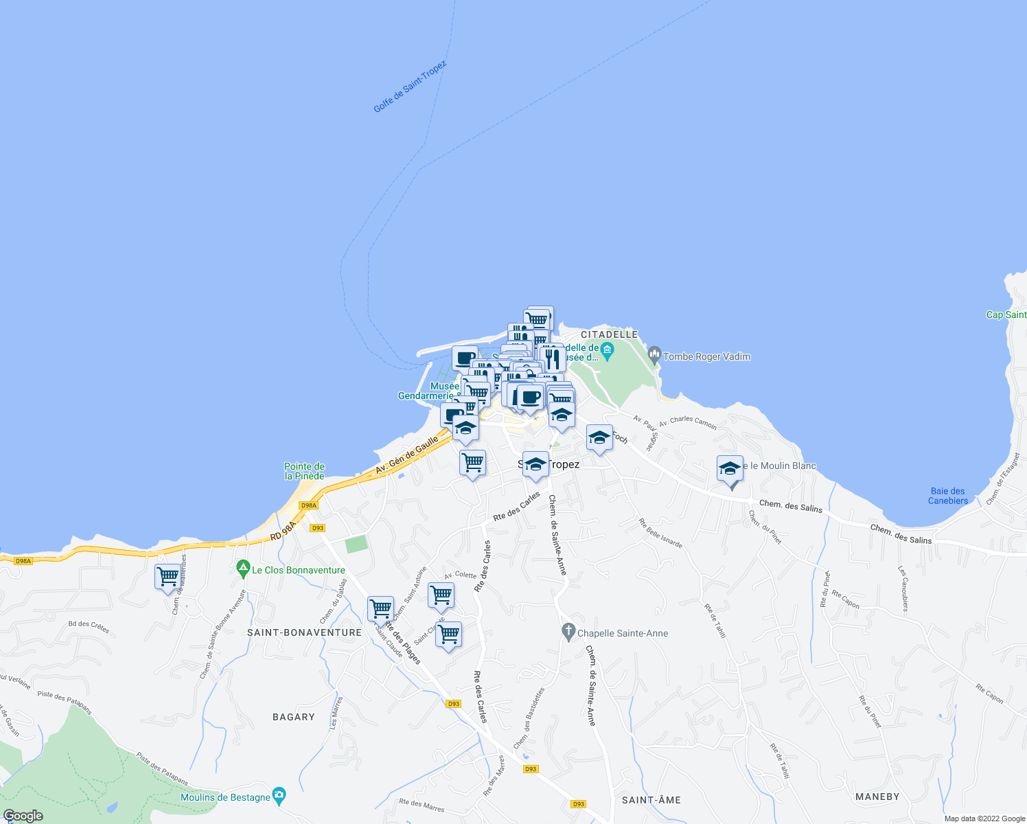 map of restaurants, bars, coffee shops, grocery stores, and more near 31 Rue Etienne Berny in Saint-Tropez