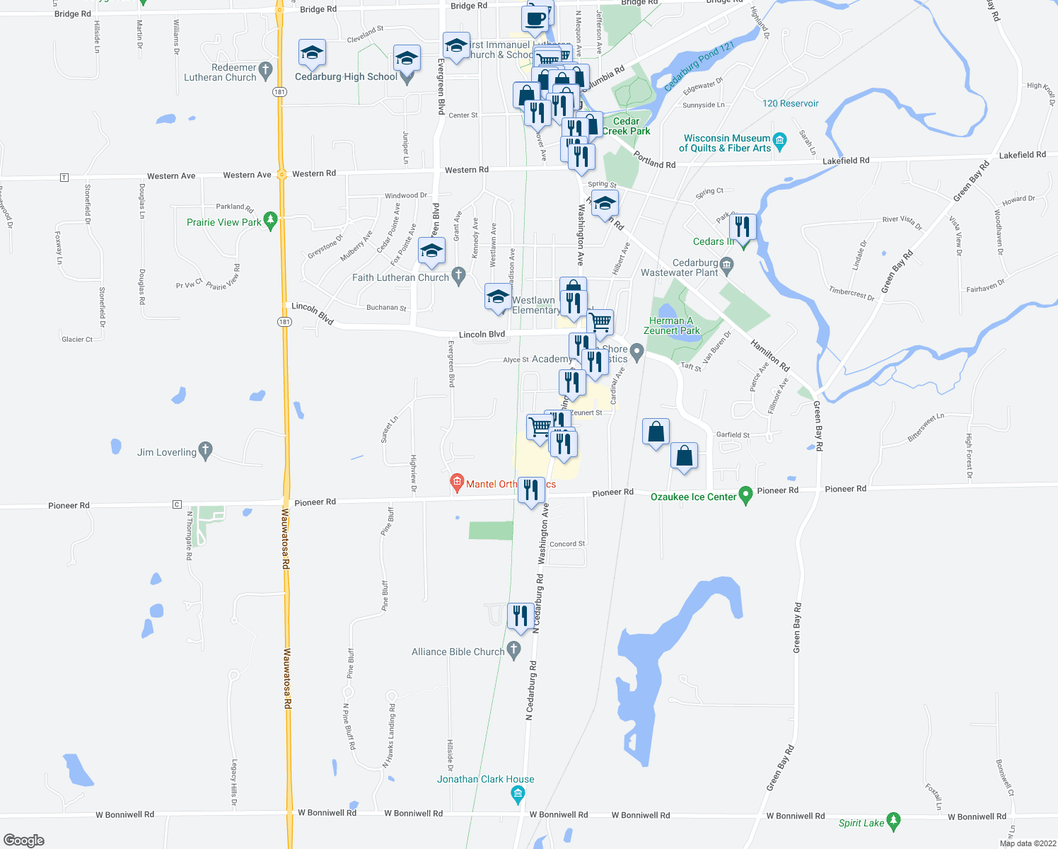 map of restaurants, bars, coffee shops, grocery stores, and more near Ozaukee Interurban Trail in Cedarburg