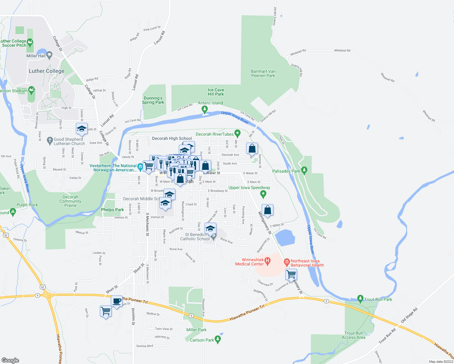 map of restaurants, bars, coffee shops, grocery stores, and more near East Main Street in Decorah