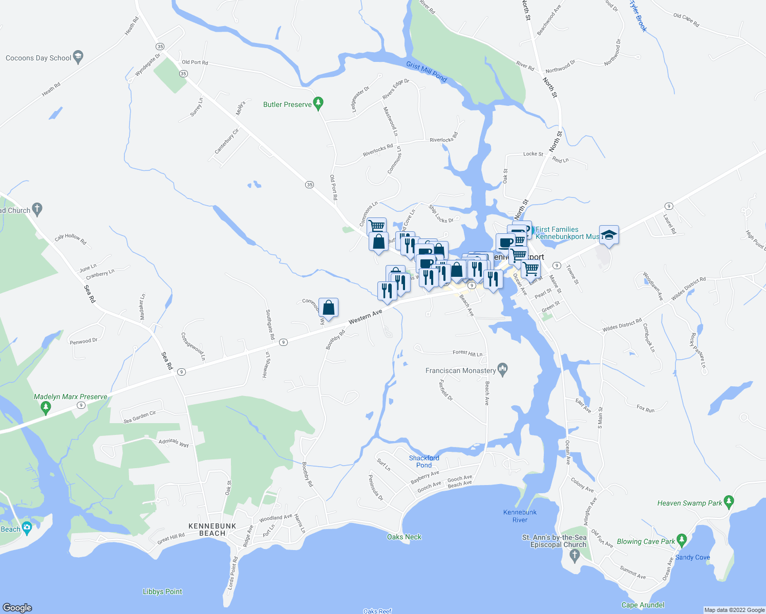 map of restaurants, bars, coffee shops, grocery stores, and more near 57 Western Avenue in Kennebunk