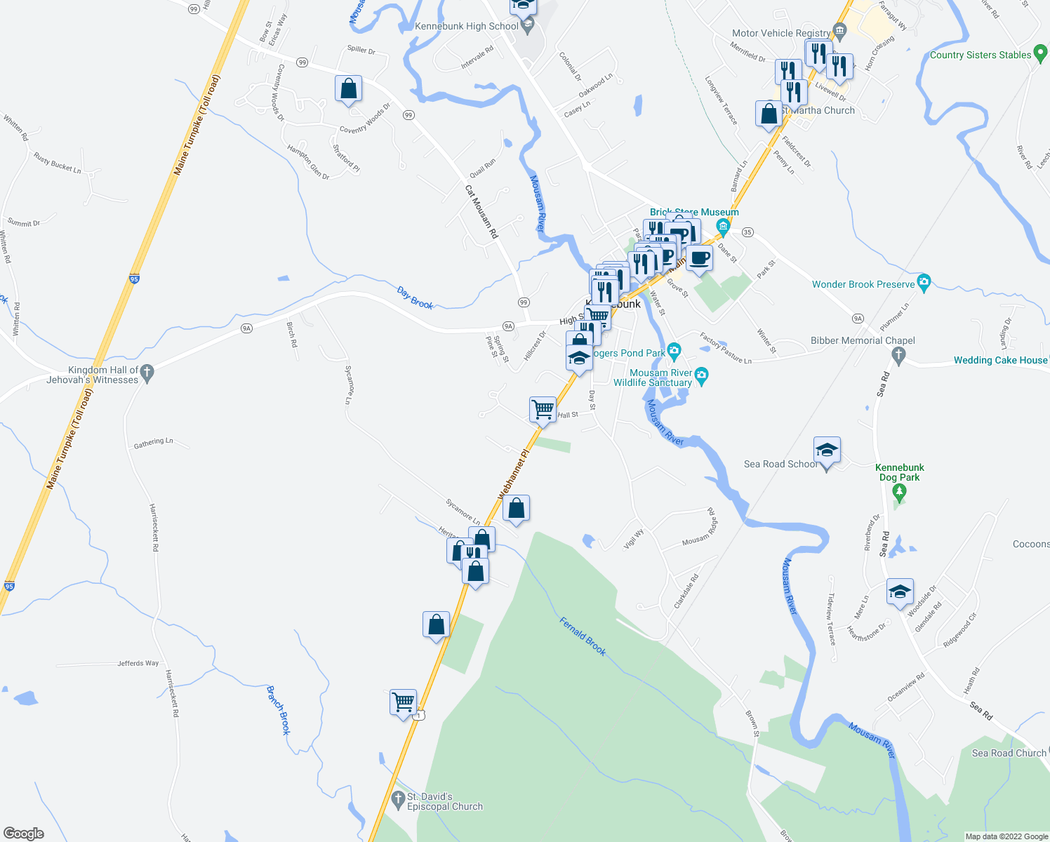 map of restaurants, bars, coffee shops, grocery stores, and more near 16 Waterford Greene Drive in Kennebunk
