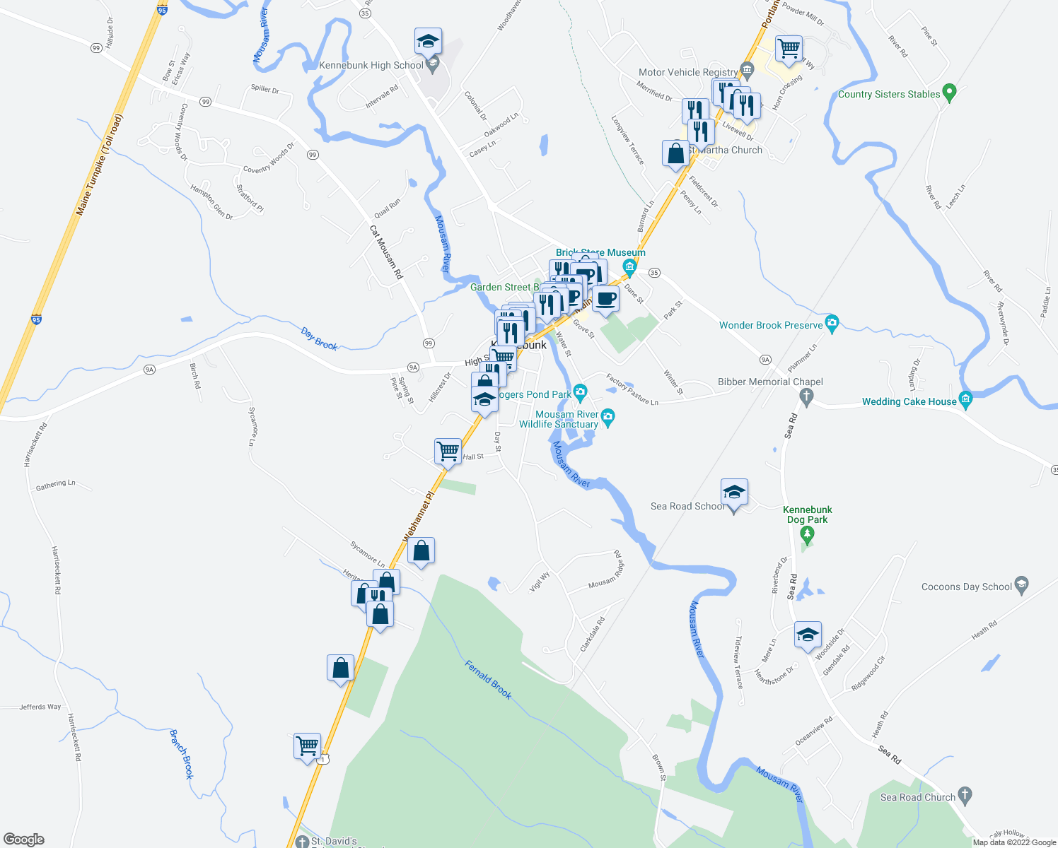 map of restaurants, bars, coffee shops, grocery stores, and more near 42 Brown Street in Kennebunk