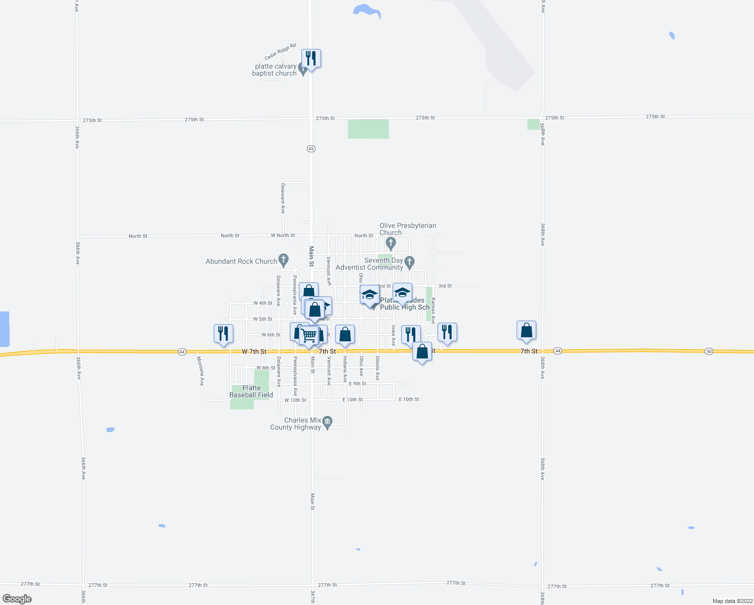 map of restaurants, bars, coffee shops, grocery stores, and more near 300-398 Illinois Avenue in Platte