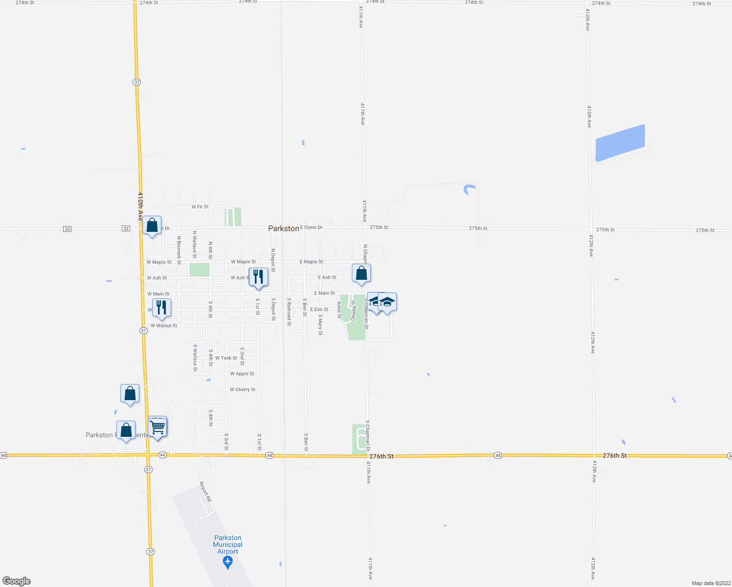 map of restaurants, bars, coffee shops, grocery stores, and more near 701-799 East Main Street in Parkston