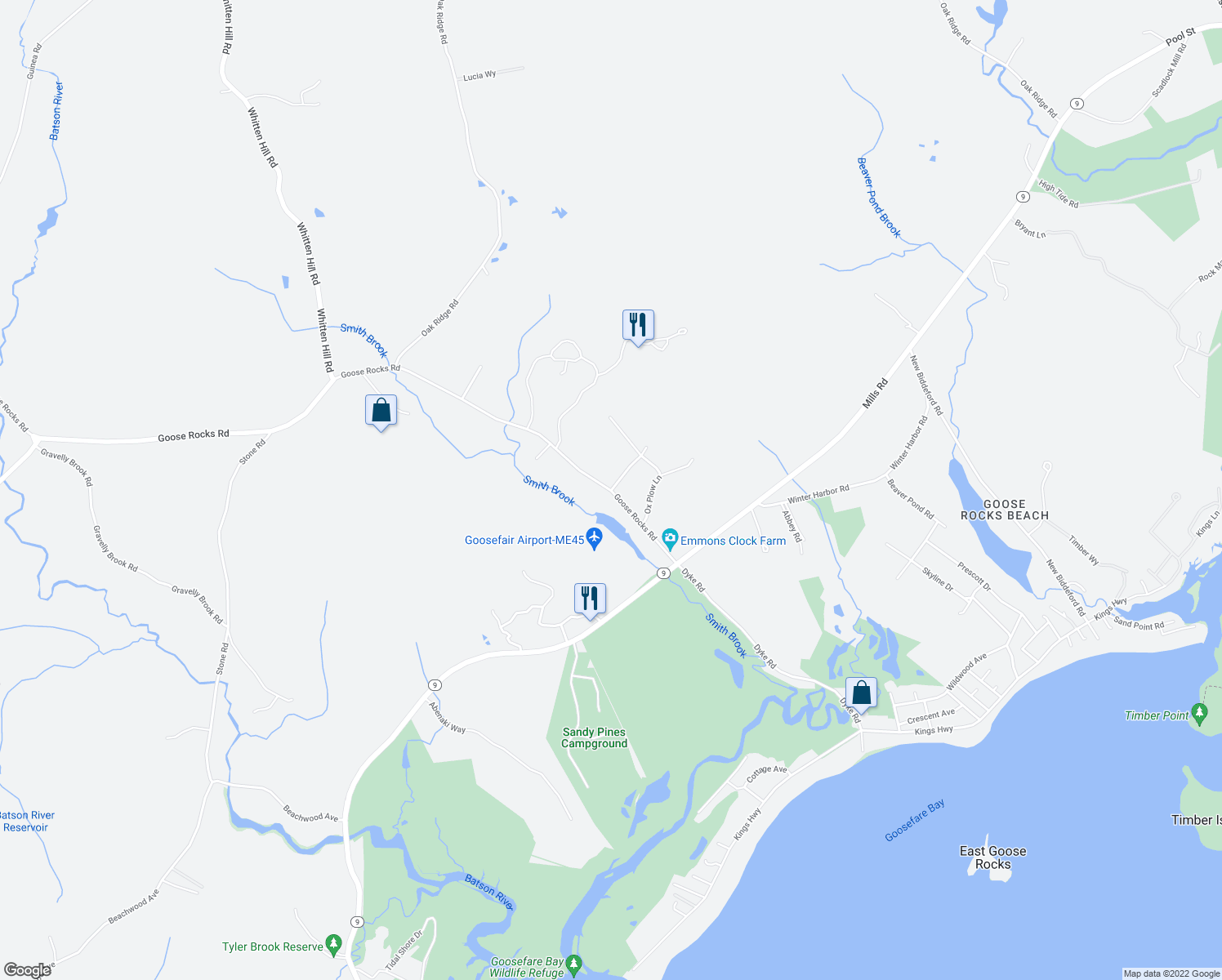 map of restaurants, bars, coffee shops, grocery stores, and more near 1 New Adams Road in Kennebunkport