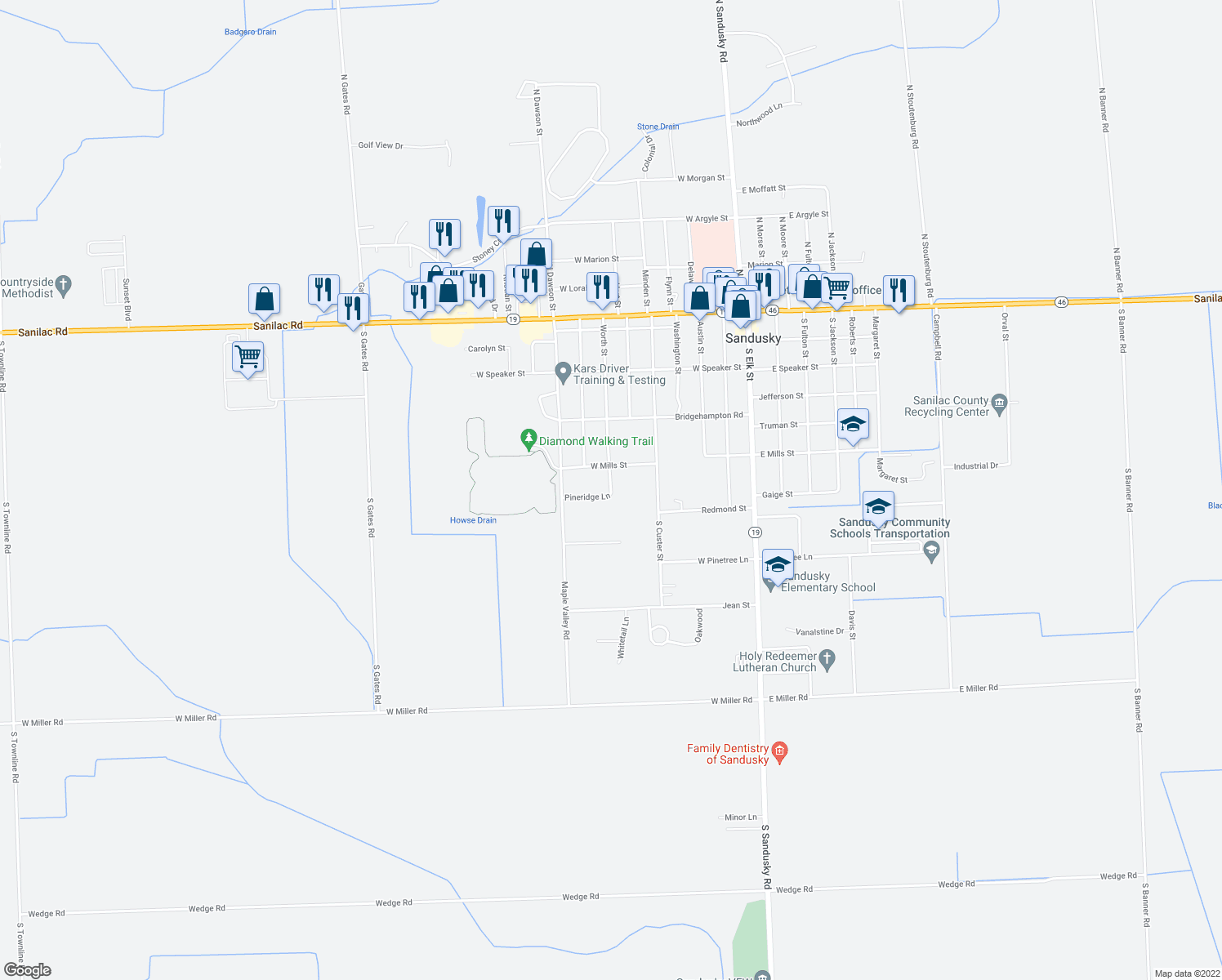 map of restaurants, bars, coffee shops, grocery stores, and more near 295 Worth Street in Sandusky