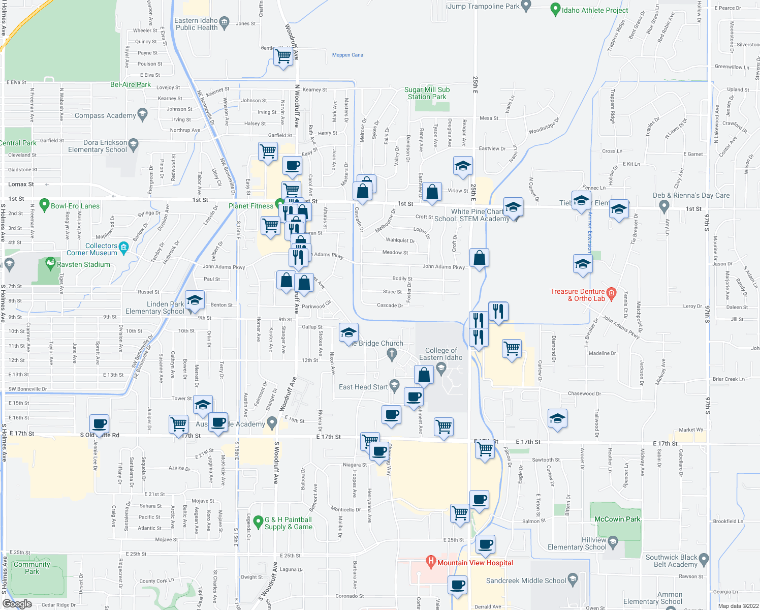 map of restaurants, bars, coffee shops, grocery stores, and more near 2120 Stace Street in Idaho Falls
