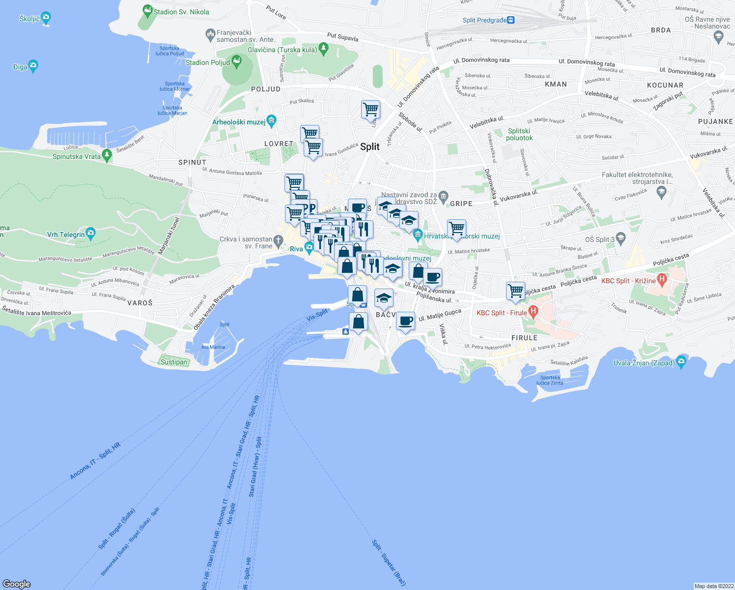 map of restaurants, bars, coffee shops, grocery stores, and more near Zlodrina poljana in Split