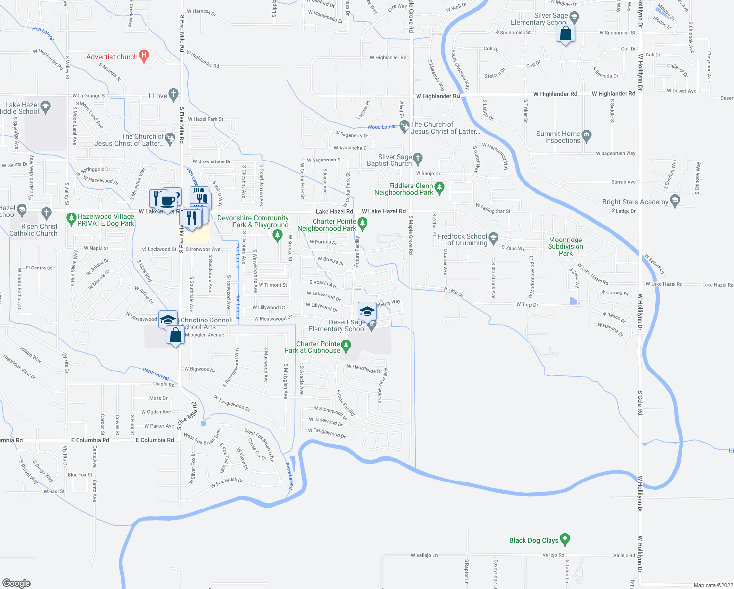 map of restaurants, bars, coffee shops, grocery stores, and more near 9307 West Littlewood Drive in Boise