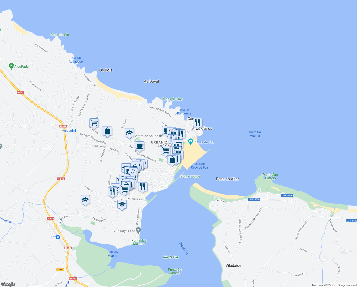 map of restaurants, bars, coffee shops, grocery stores, and more near 6 Rego de Foz in Foz