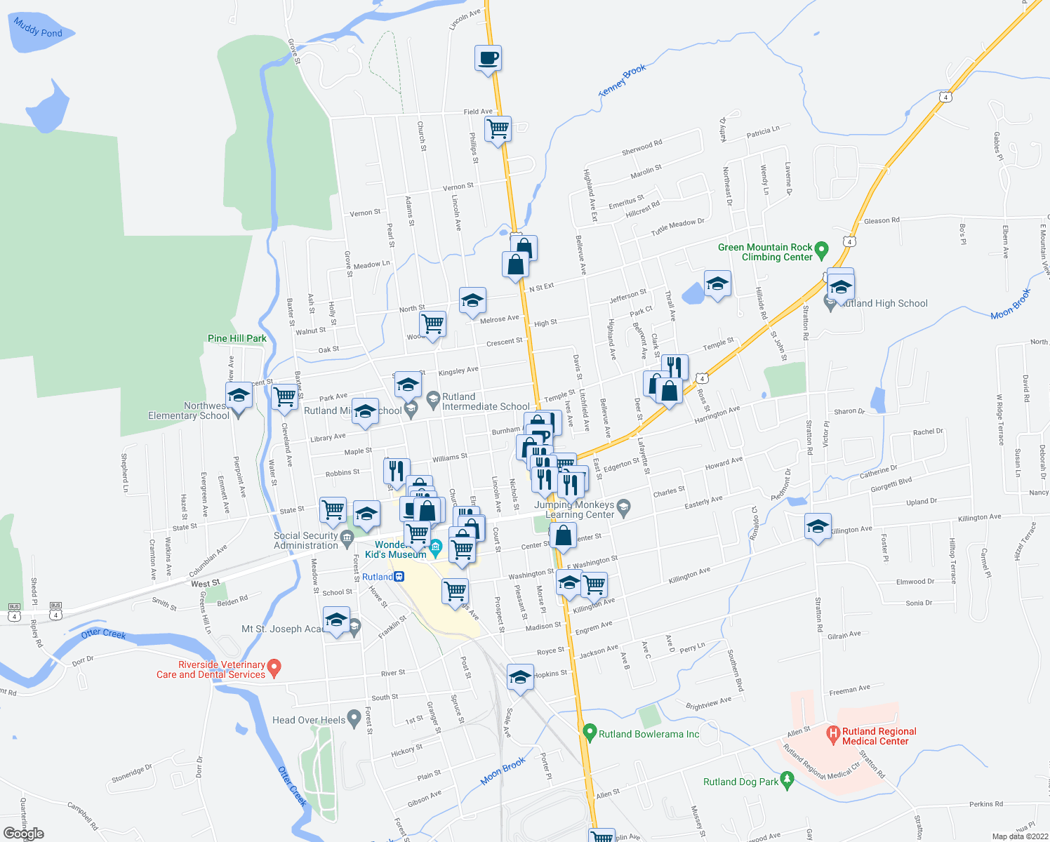 map of restaurants, bars, coffee shops, grocery stores, and more near 2-8 Burnham Avenue in Rutland