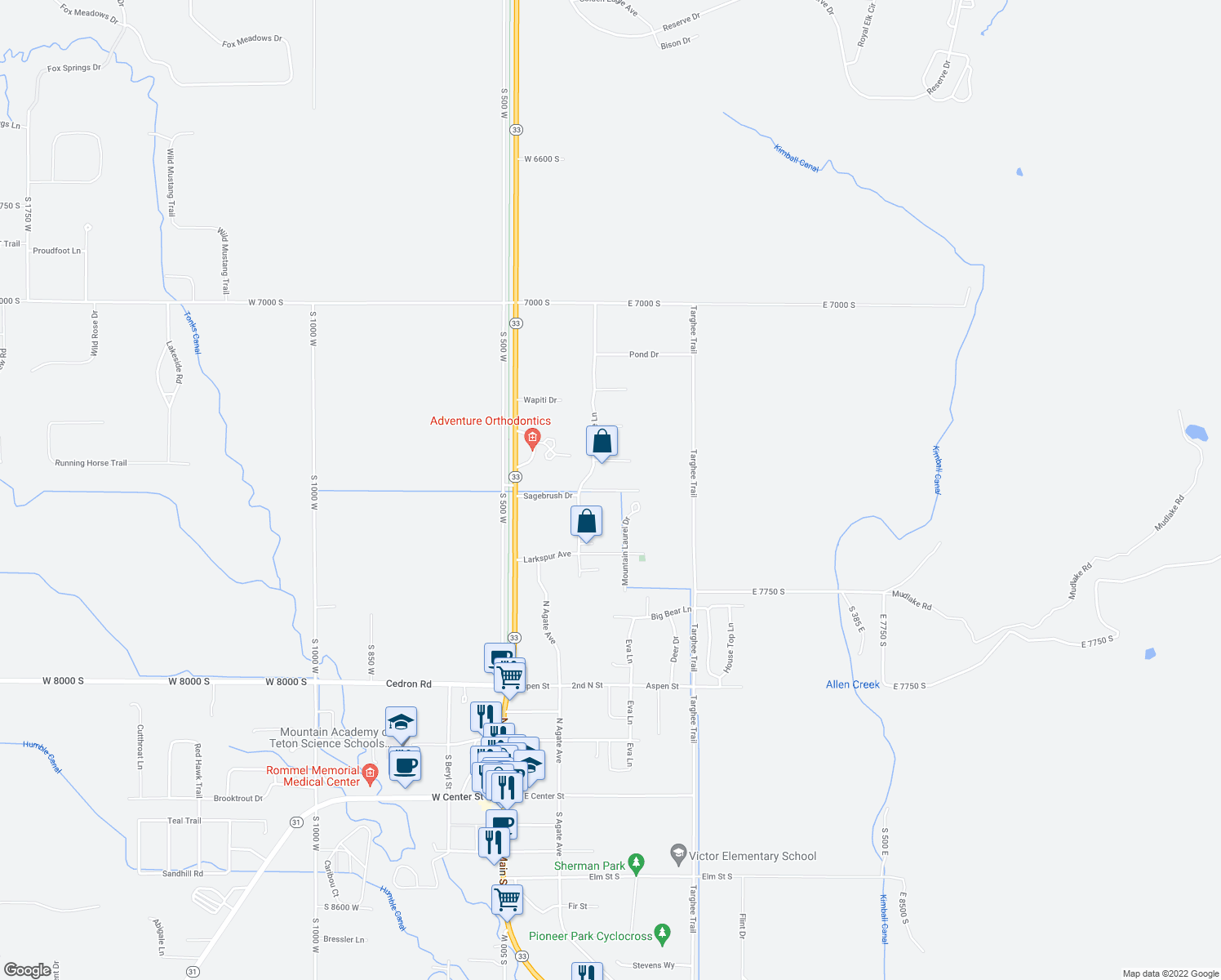map of restaurants, bars, coffee shops, grocery stores, and more near 220 Homestead Drive in Victor