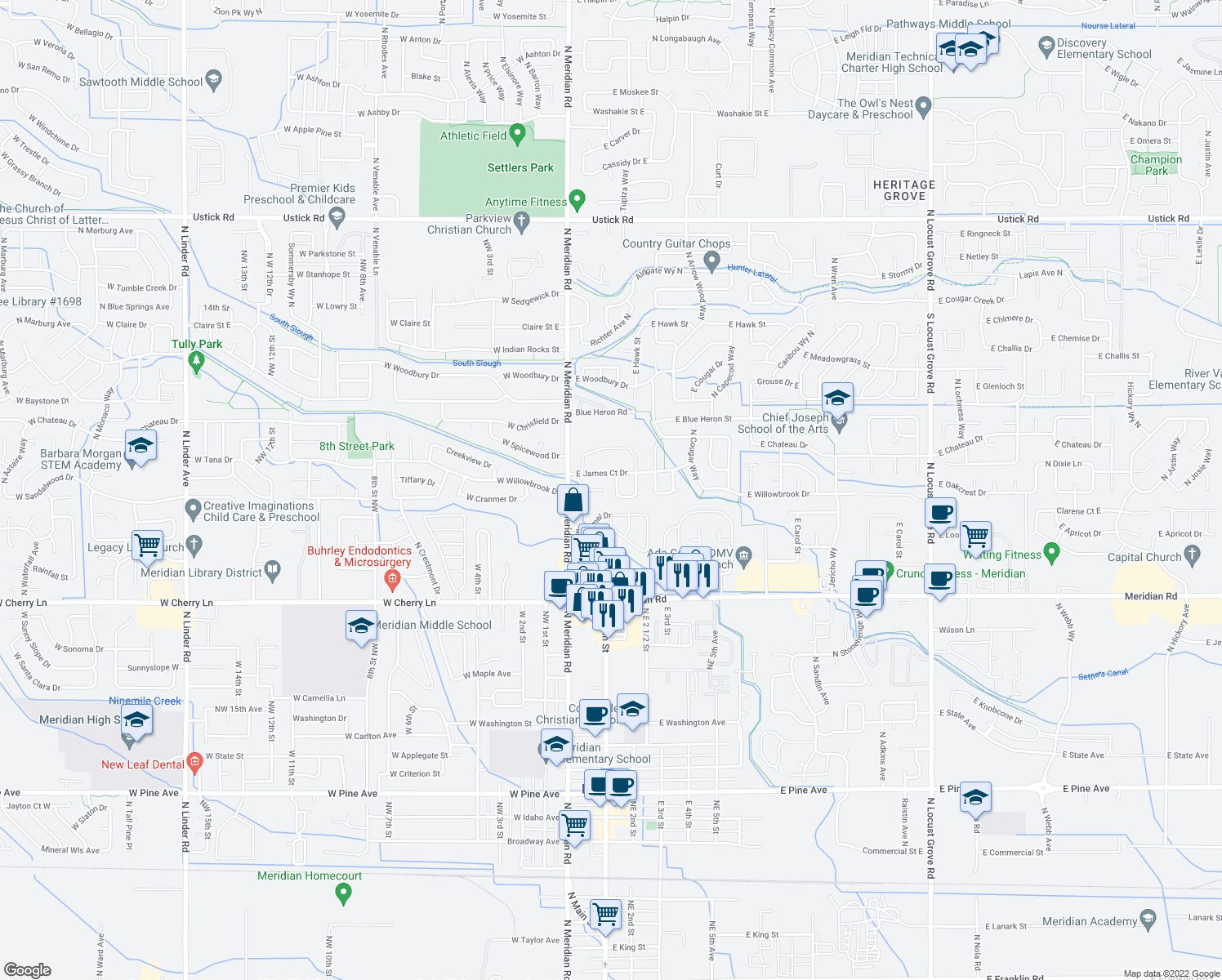 map of restaurants, bars, coffee shops, grocery stores, and more near 243 Eas