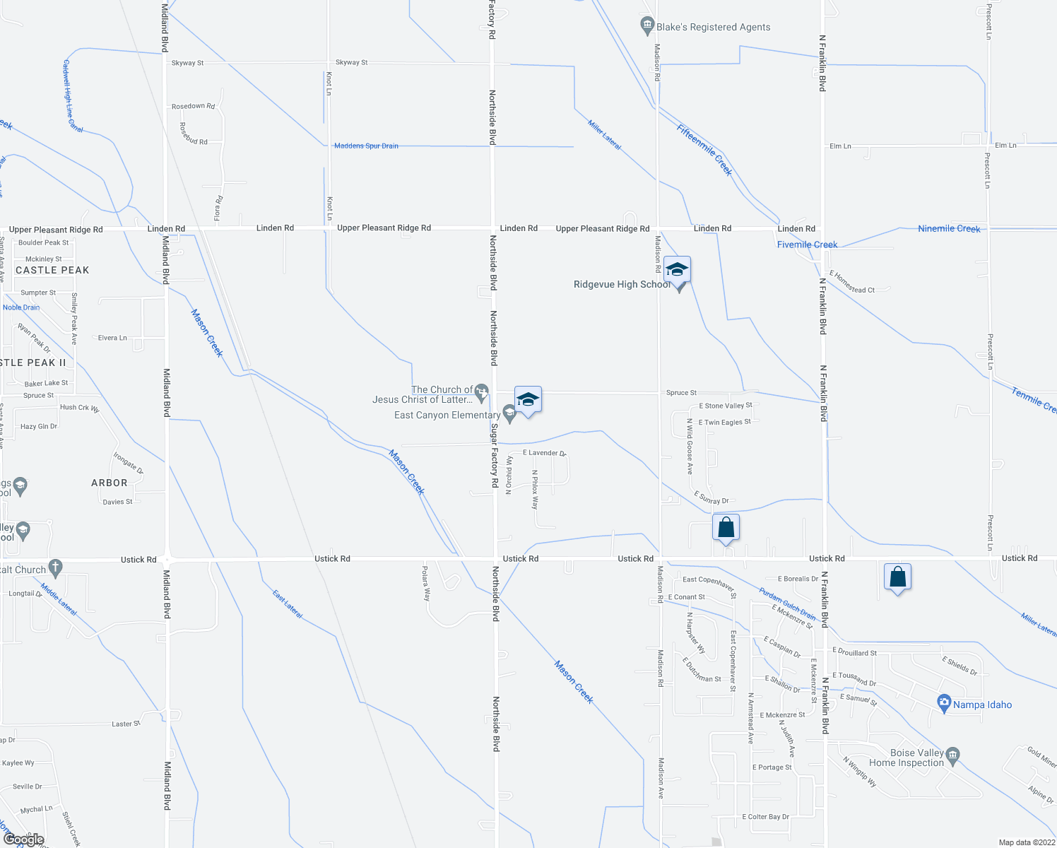 map of restaurants, bars, coffee shops, grocery stores, and more near 18408 Northside Boulevard in Nampa