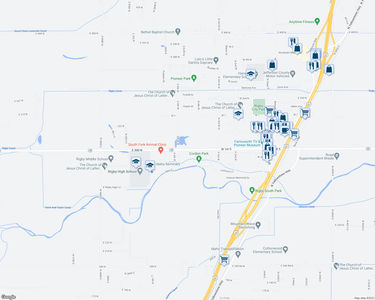map of restaurants, bars, coffee shops, grocery stores, and more near 539 West 1st South in Rigby