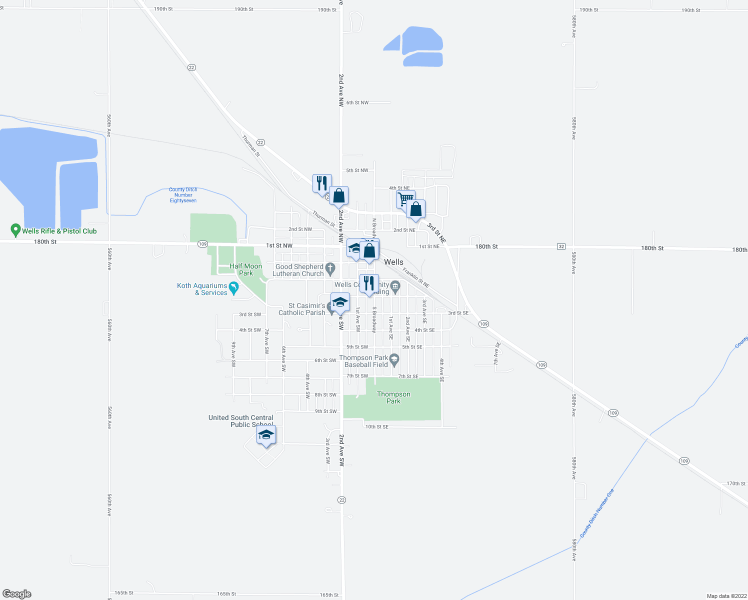 map of restaurants, bars, coffee shops, grocery stores, and more near 2-50 2nd Street Southwest in Wells