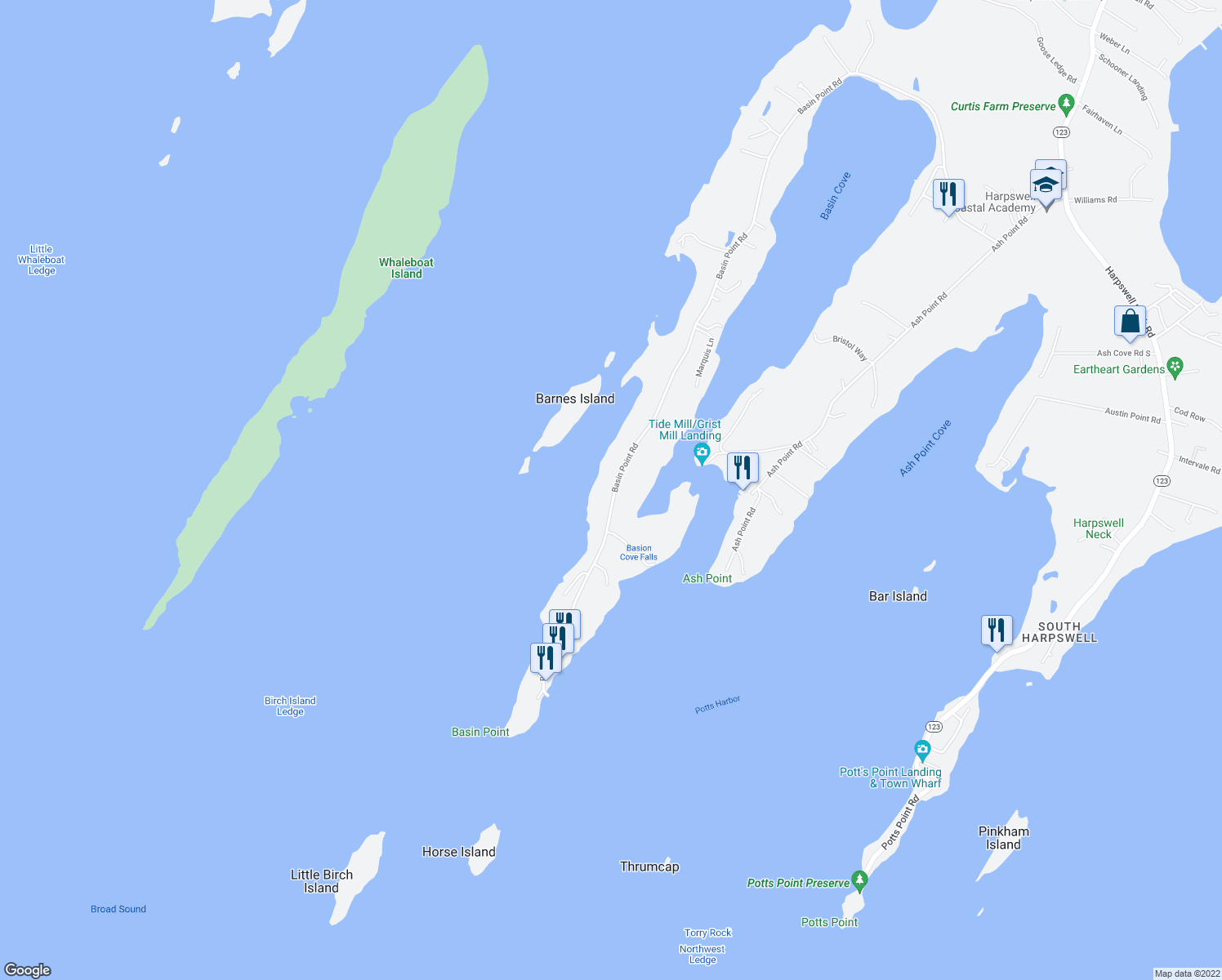 map of restaurants, bars, coffee shops, grocery stores, and more near 474 Basin Point Road in Harpswell