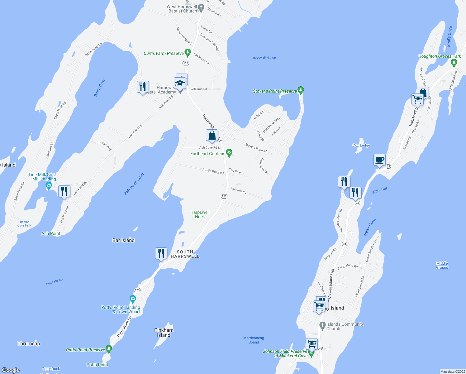 map of restaurants, bars, coffee shops, grocery stores, and more near 13 Intervale Road in Harpswell
