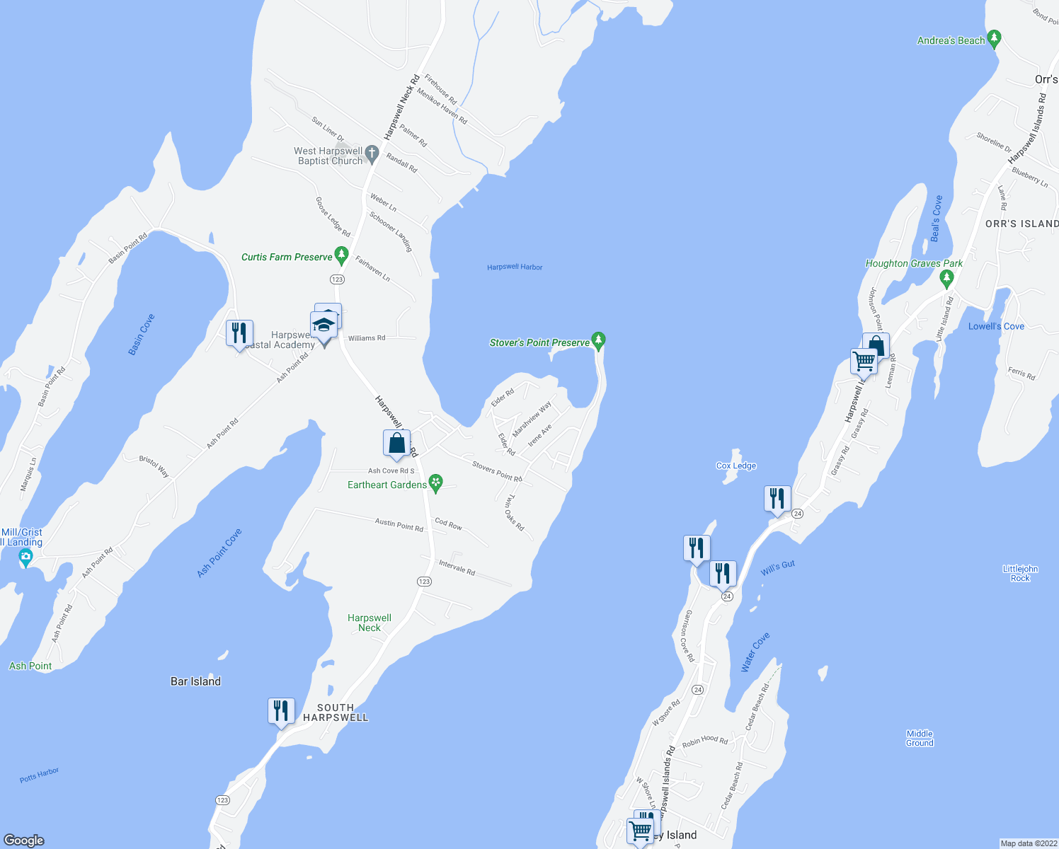 map of restaurants, bars, coffee shops, grocery stores, and more near 22 Marshview Way in Harpswell