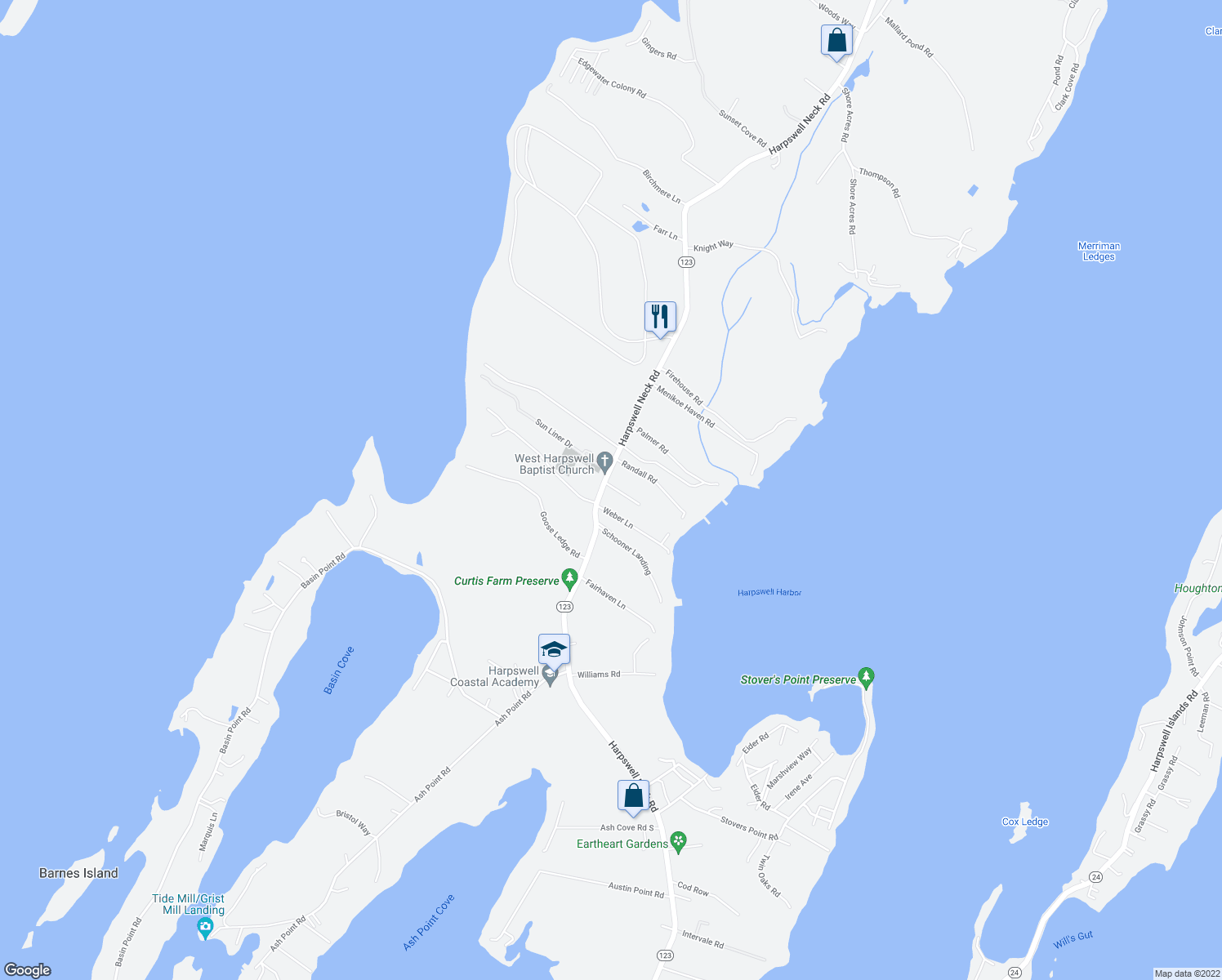 map of restaurants, bars, coffee shops, grocery stores, and more near 16 Harmony Lane in Harpswell