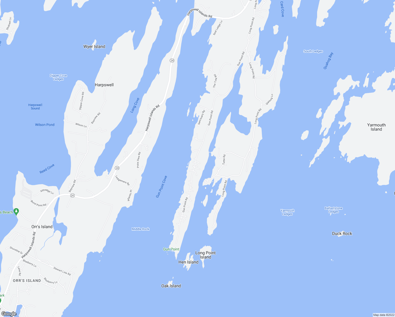 map of restaurants, bars, coffee shops, grocery stores, and more near 279 Gun Point Road in Harpswell
