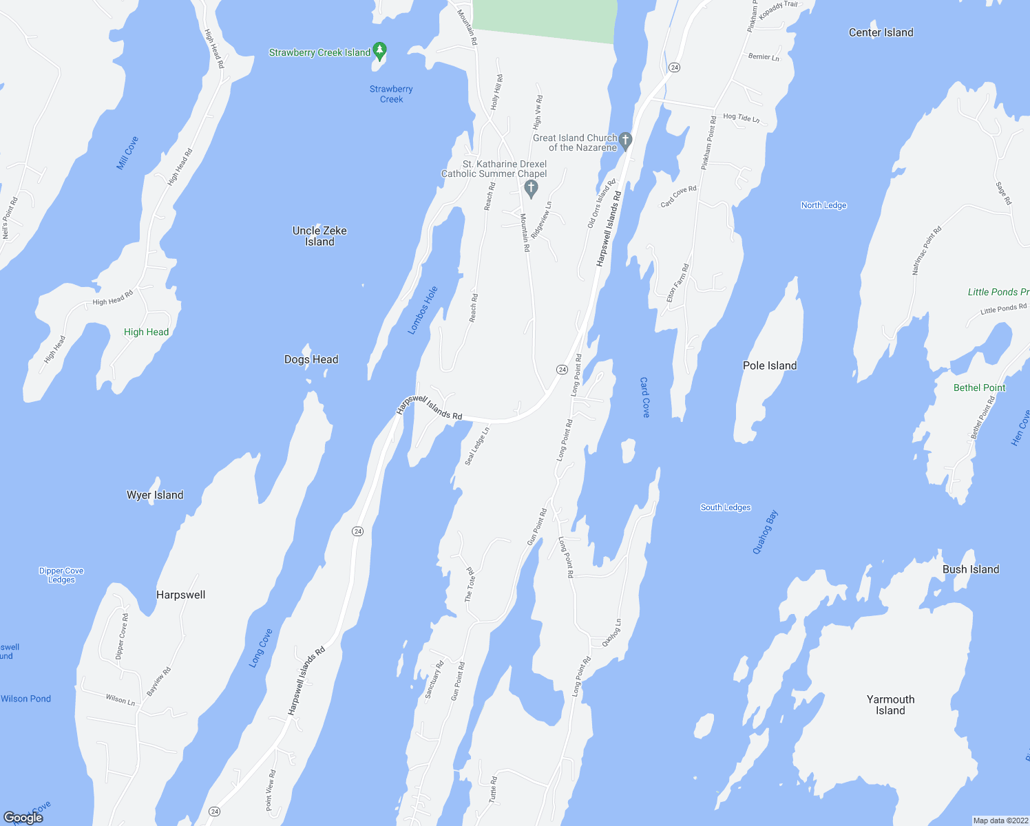 map of restaurants, bars, coffee shops, grocery stores, and more near 9 Lucky Lane in Harpswell