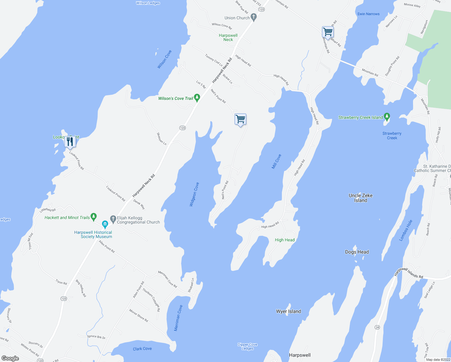 map of restaurants, bars, coffee shops, grocery stores, and more near in Harpswell
