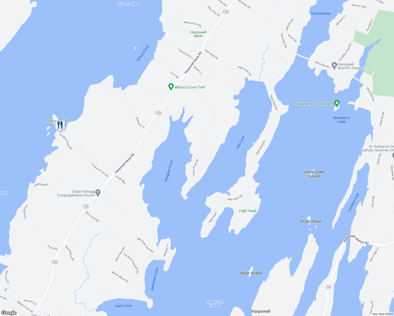 map of restaurants, bars, coffee shops, grocery stores, and more near 166 Neil's Point Rd in Harpswell