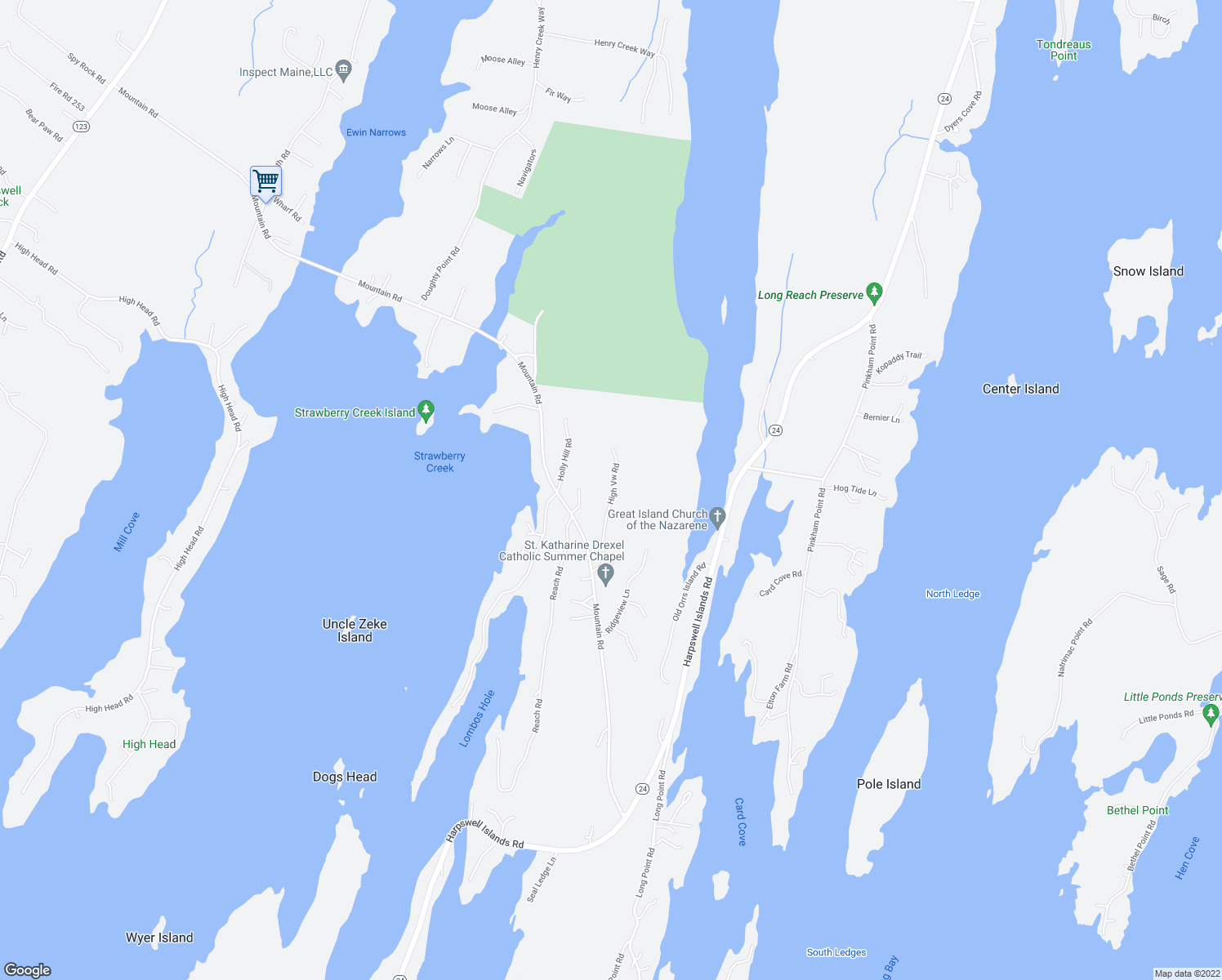 map of restaurants, bars, coffee shops, grocery stores, and more near Upland Lane in Harpswell
